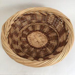 "Vintage Two Tone Wicker Basket 13.25"" x 12"" x 4.5"""